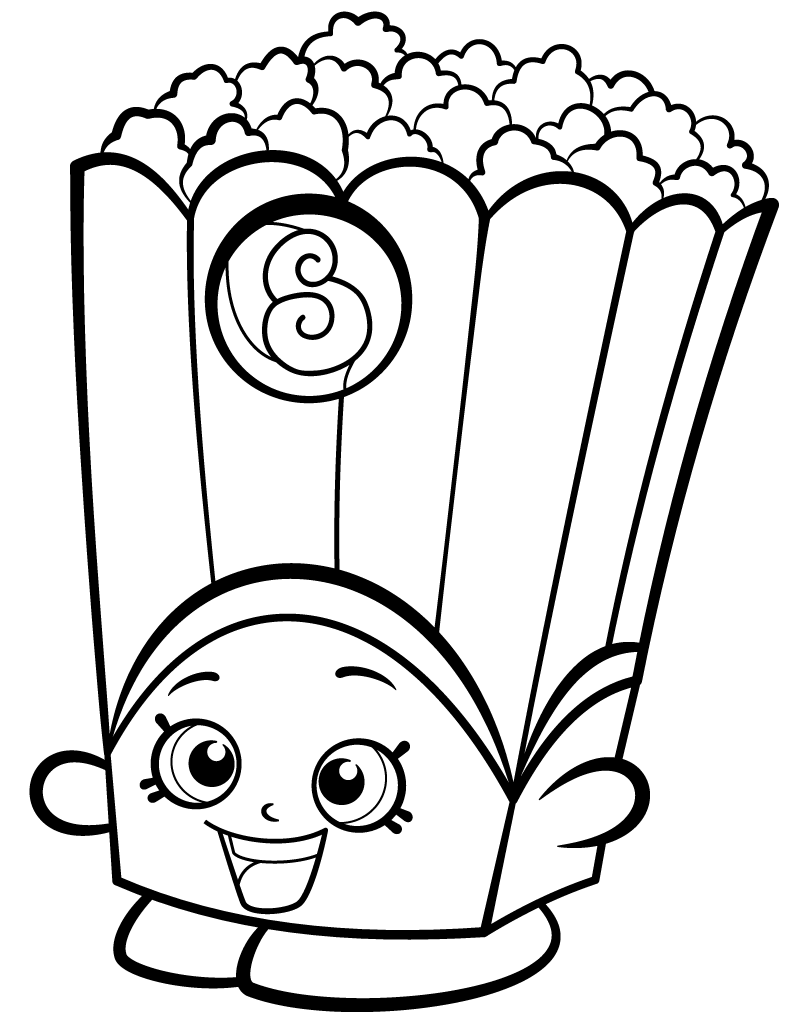 Poppy Corn Shopkin Coloring Page