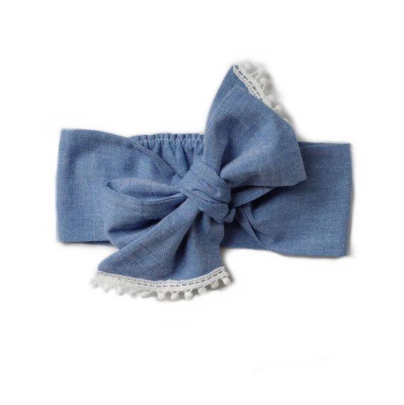 Stylish Bow Baby Headwrap Baby Head Scarf Baby Turban Blue