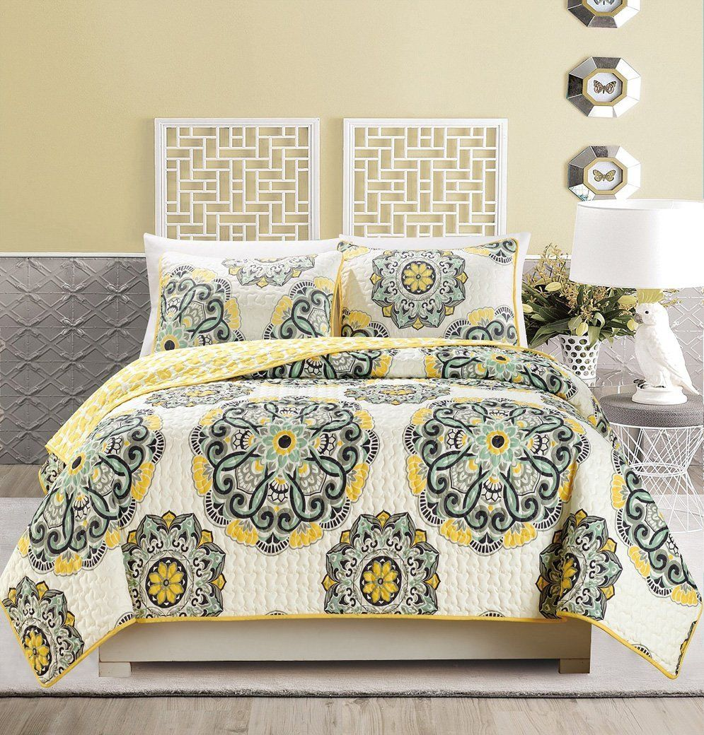 Yellow Bedding | Coverlet bedding, Bedspread and Black bedding : yellow and grey quilt bedding - Adamdwight.com