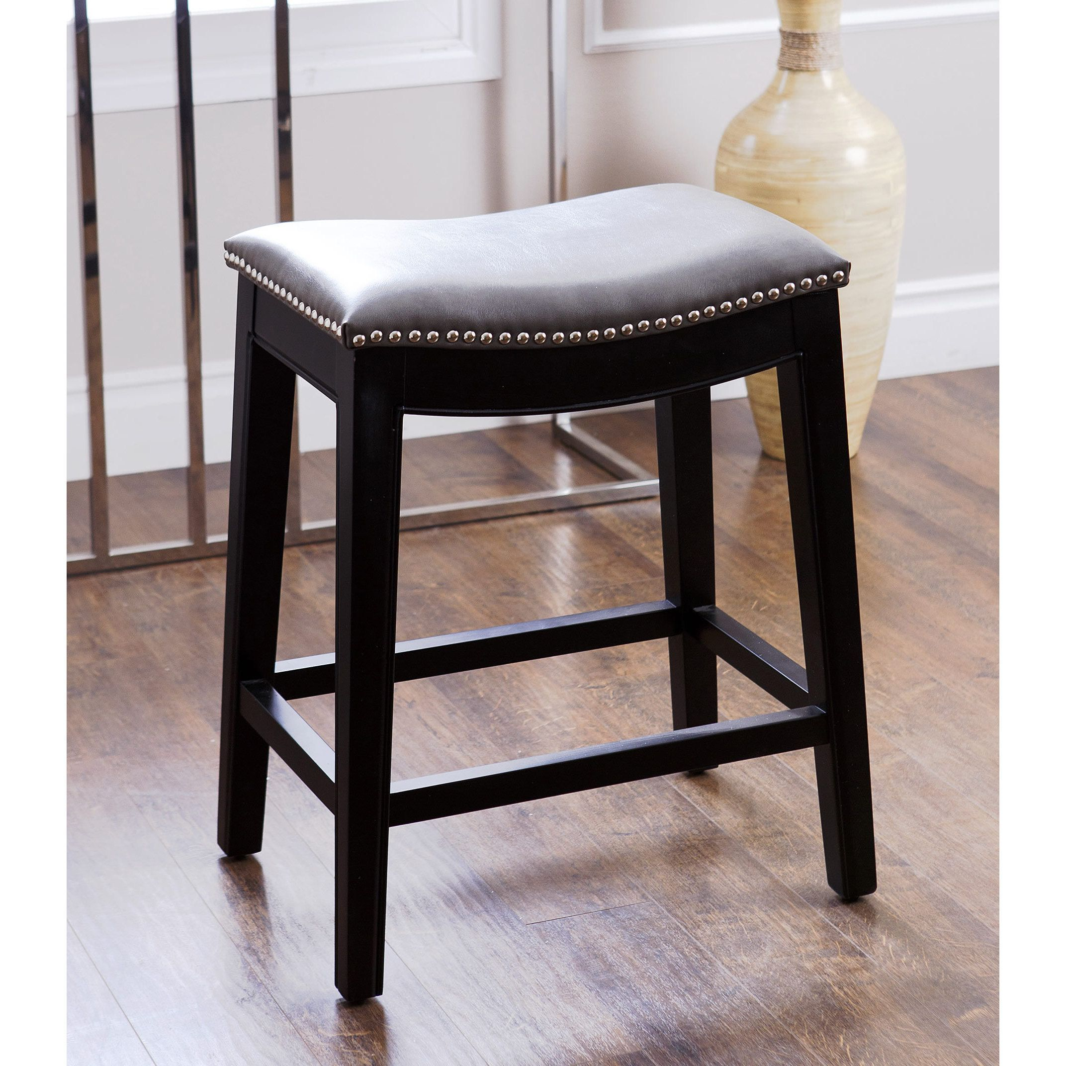 Phenomenal Abbyson Rivoli Grey Leather Nailhead Trim Counter Stool In Uwap Interior Chair Design Uwaporg