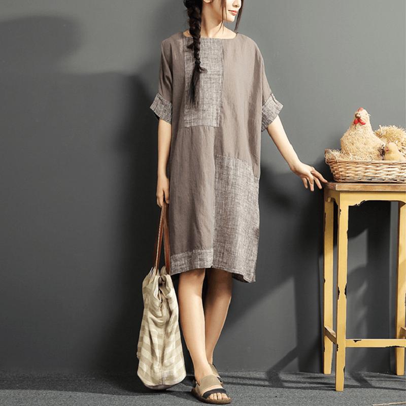 Loose Cotton-Linen Dress
