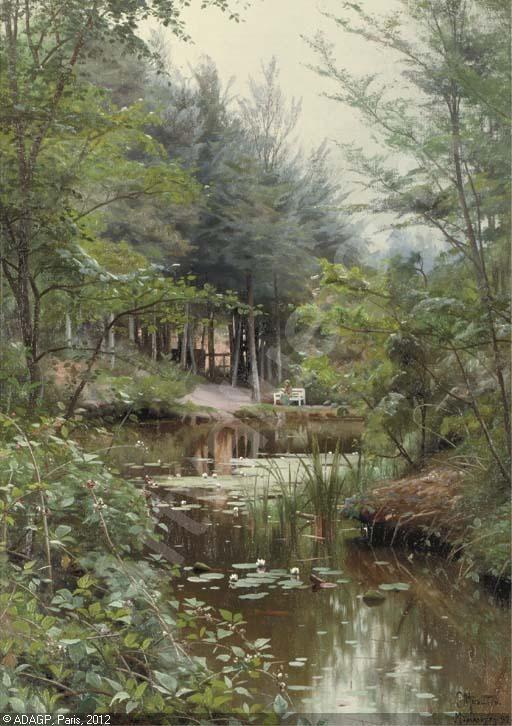 Peder Mørk Mønsted (1859-1941): A Lady reading by a Lake, 1920