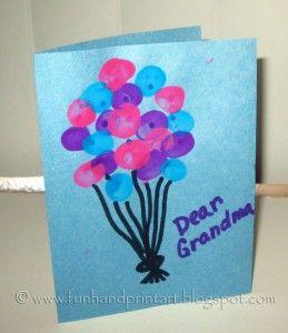 Thumbprint Balloons Birthday Card Grandma Birthday Card Dad Birthday Card Homemade Birthday Cards