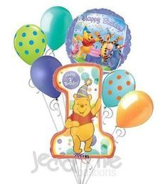 7 pc Winnie the Pooh 1st Happy Birthday Balloon Bouquet Party