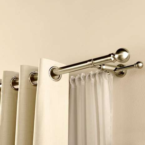 Satin Silver Duo Curtain Pole Dunelm Curtains Double