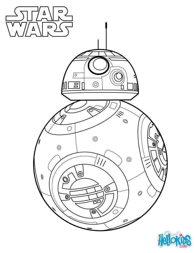 Bb 8 The Force Awakens Coloring Page Coloriage Star Wars Bb8