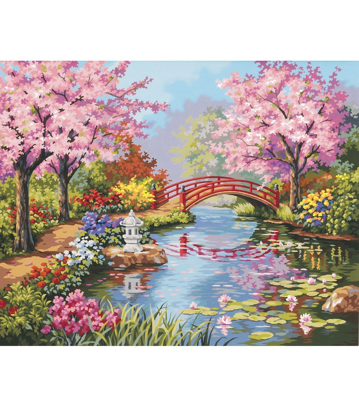 dimensions 20x16 paint by number kit japanese garden