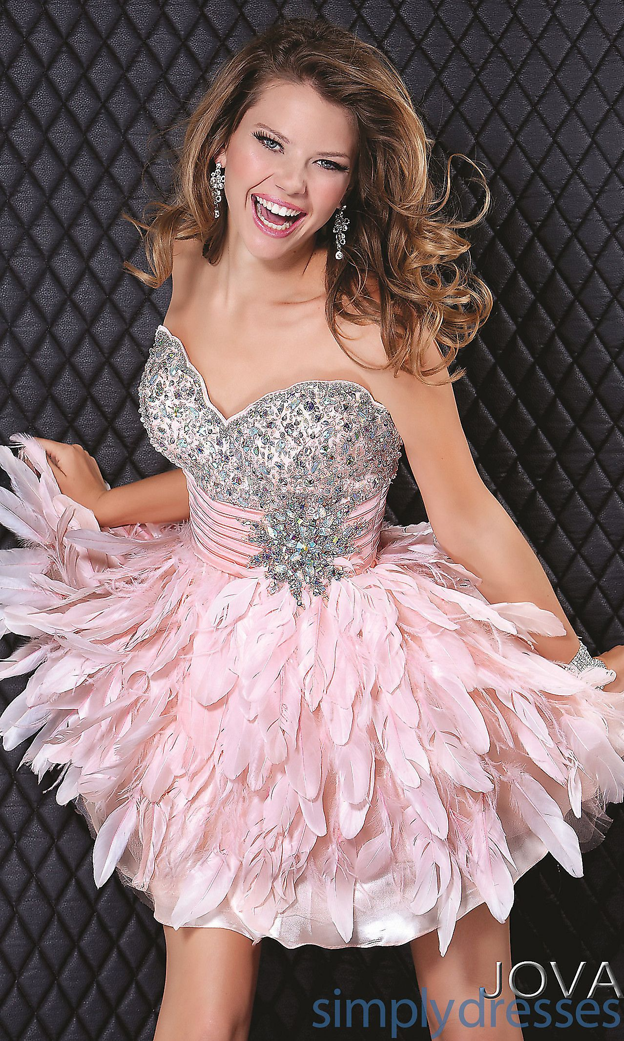 Short Strapless Pink Feather Dress JO-5924 | Think Pink! | Pinterest ...