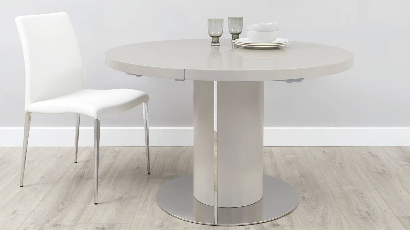 Curva Round Matt Grey Extending Dining Table Grey Dining Tables
