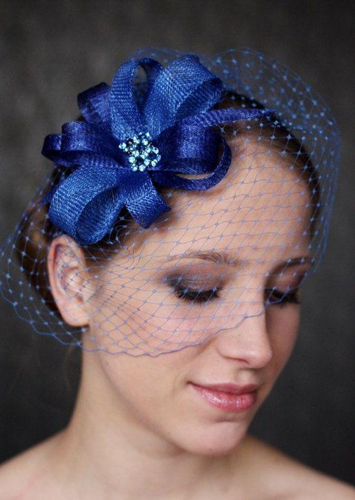 e8b7c0d7fc8 Love this look for something blue Royal Blue Fascinator Royal Blue Hat w Ribbon  waves by klaxonek