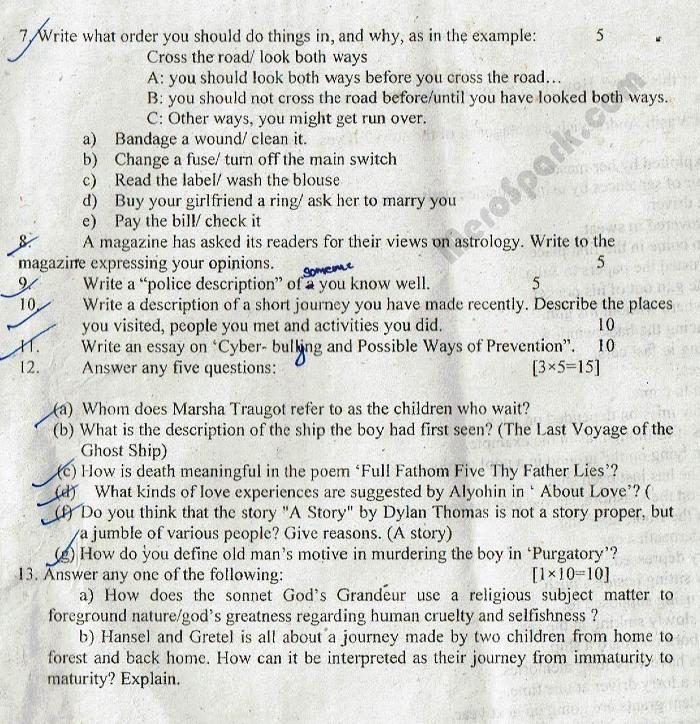 grade 4 english exam papers pdf