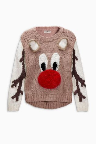 Buy Camel Christmas Reindeer Jumper (3-16yrs) from the Next UK online shop e61d5c20fa45