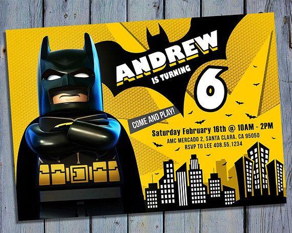 Lego Batman Party Invite Lego Batman Birthday Card Invitation Lego