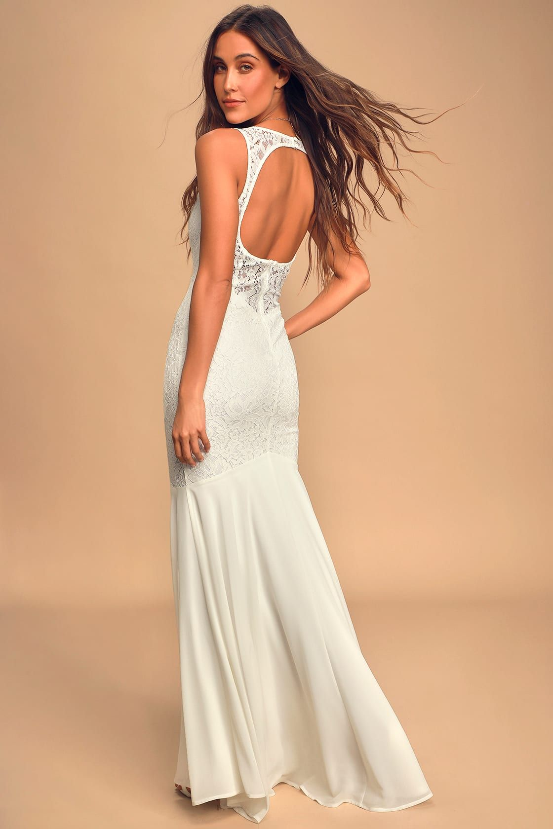 Take My Breath Away White Lace Backless Mermaid Maxi Dress In 2020 Backless Lace Dress Bridal Dresses White Lace Gown