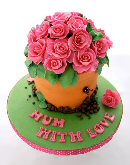 Rose Day Cake Images : Mothers Day cake decorated as roses in a flowerpot # ...