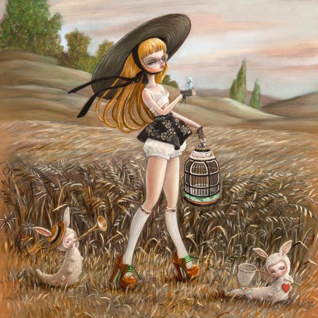 Paintings of Feminine, Doll-Like Figures in Beautiful Scenery by Nataly Abramovitch.|CutPasteStudio|Illustrations, Entertainment, beautiful,creativity, Art, Artwork, Artist, drawings, painting, oil painting, pop surreal art scene.