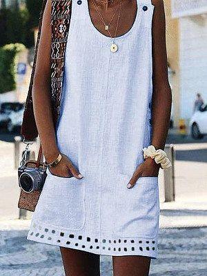 Round Neck Cutout Slit Pocket Plain Shift Dress