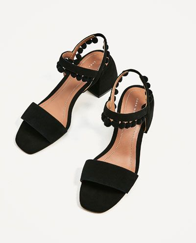 Mujer Piel Zapatos Sandalia Pompones Medio Tacón RebajasZara SVqpGLUzM