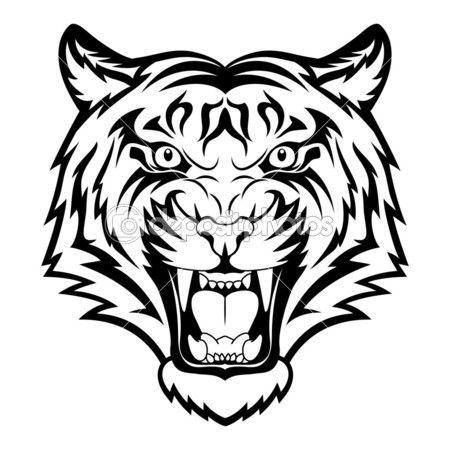 tiger face stock vector 15658407 pinteres rh pinterest com Alabama Black and White Tiger Football Clip Art Black and White Tiger