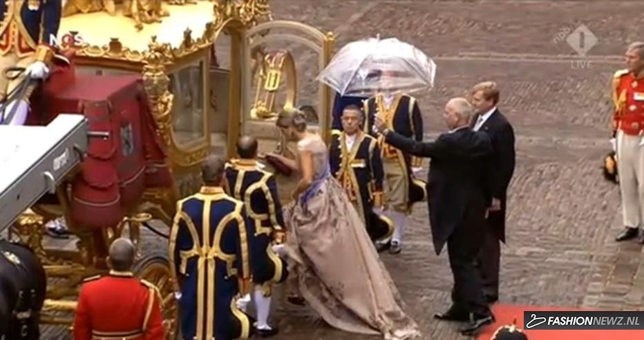 Queen Máxima in a gorgeous dress by Jan Taminiau, Prinsjesdagsdag 15 september 2015