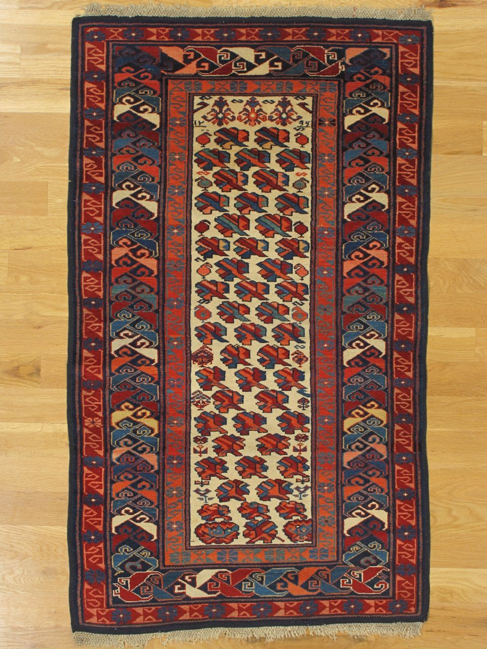 Zeikhour Rug From Eastern Caucasus West Coast Of The Caspian Sea Age Dated 1879 Size 4 10 X2 10 147x86 Cm Sold Rugs Kerman Rugs Antique Rugs