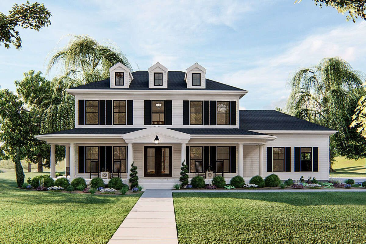 House Plan 963 00393 Farmhouse Plan 2 262 Square Feet 3 Bedrooms 2 5 Bathrooms In 2020 Colonial House Plans Colonial House Exteriors Southern House Plans