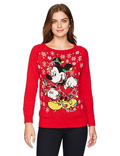 Hybrid Apparel Womens Mickey Light Up Holiday Sweater N Amazon