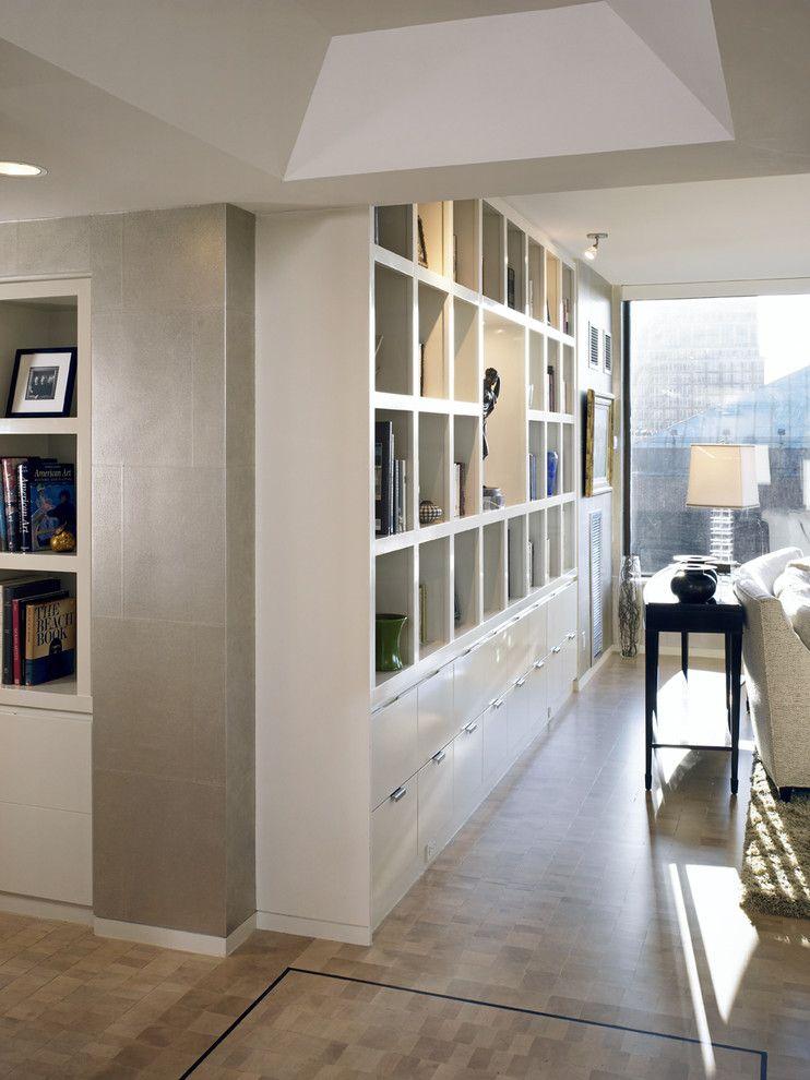 WhitecornerbookcaseHallContemporarywithbookshelvesconsole - Large bookshelves