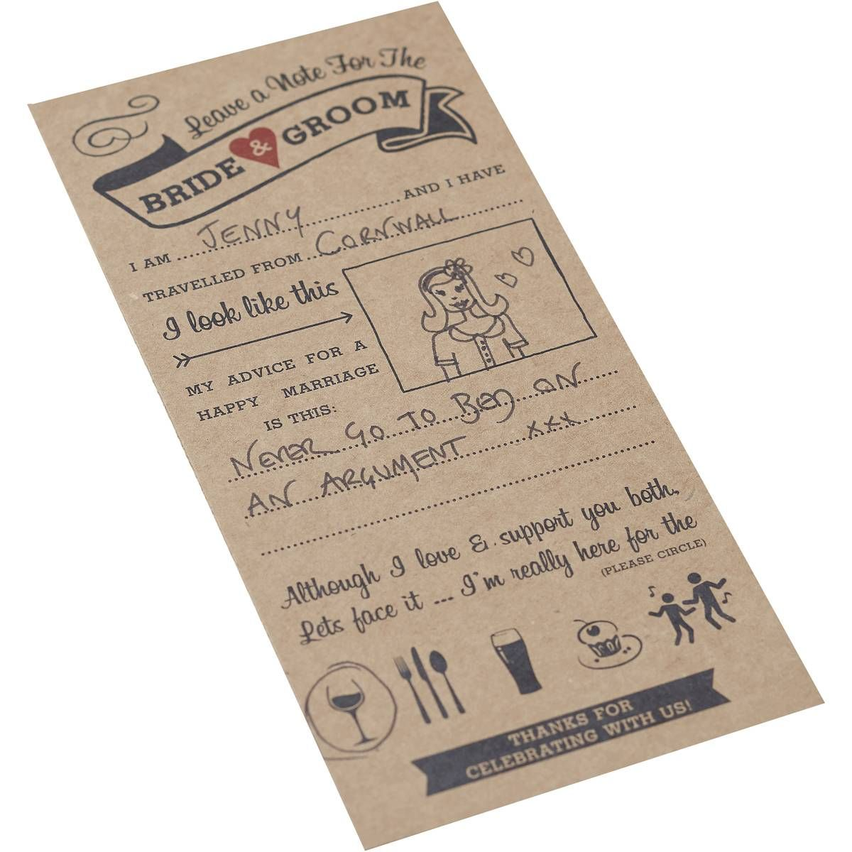 Ginger Ray Vintage Affair Wedding Advice Cards 10 Pack In