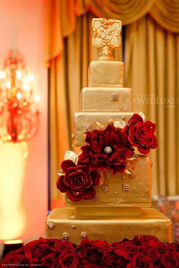 Luxury Gold And Red Wedding Cake Archives Weddings