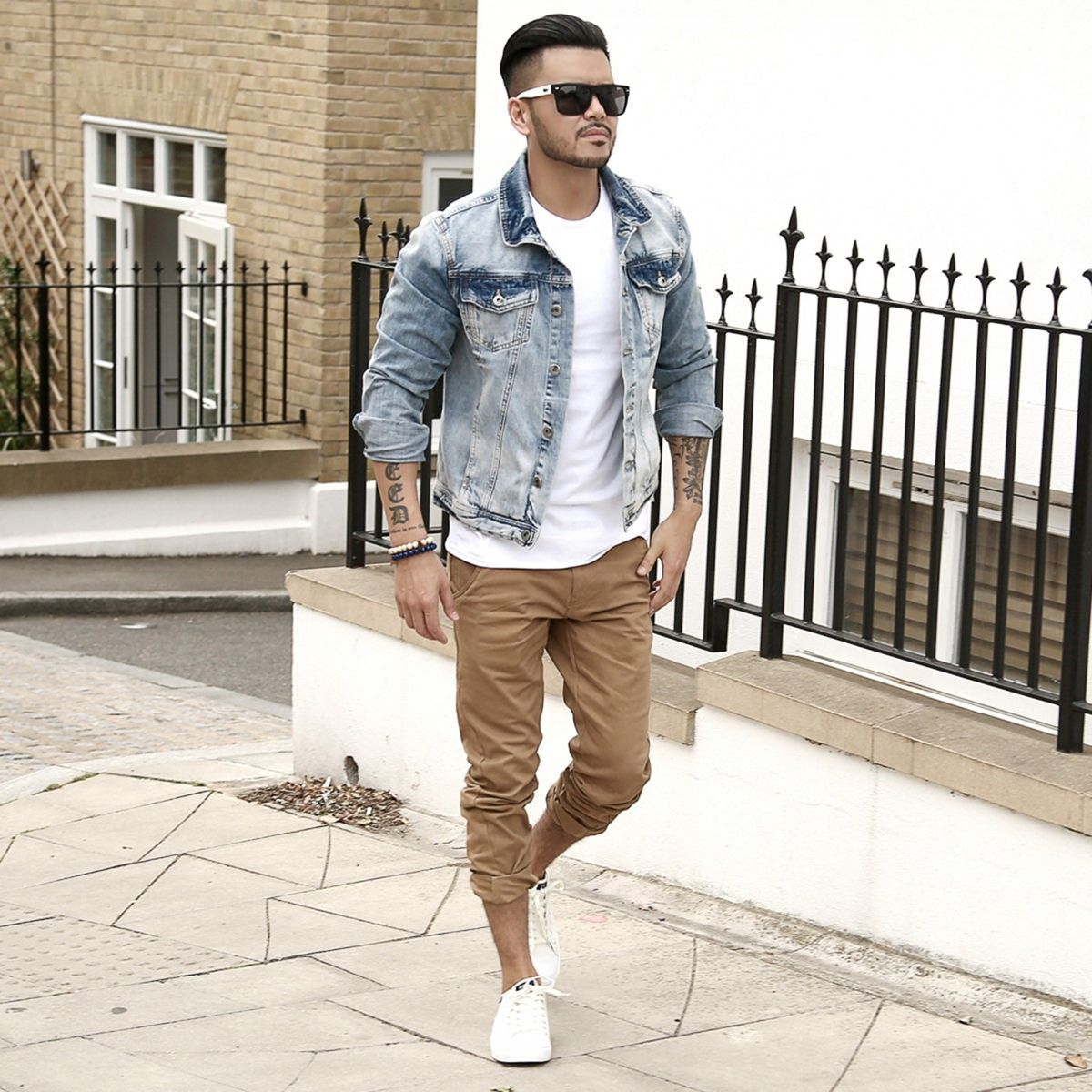 45 Awesome Jeans Jackets Ideas For Men Look Cooler Fashions Nowadays Denim Jacket Men Mens Outfits Chinos Men Outfit [ 1200 x 1200 Pixel ]