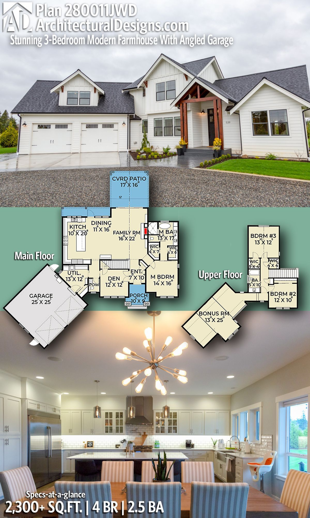 Great option add bath closet to bonus room make nd master guest introducing architectural designs modern farmhouse house plan jwd with also stunning bedroom angled rh pinterest