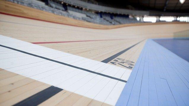 Velodrome track close-up