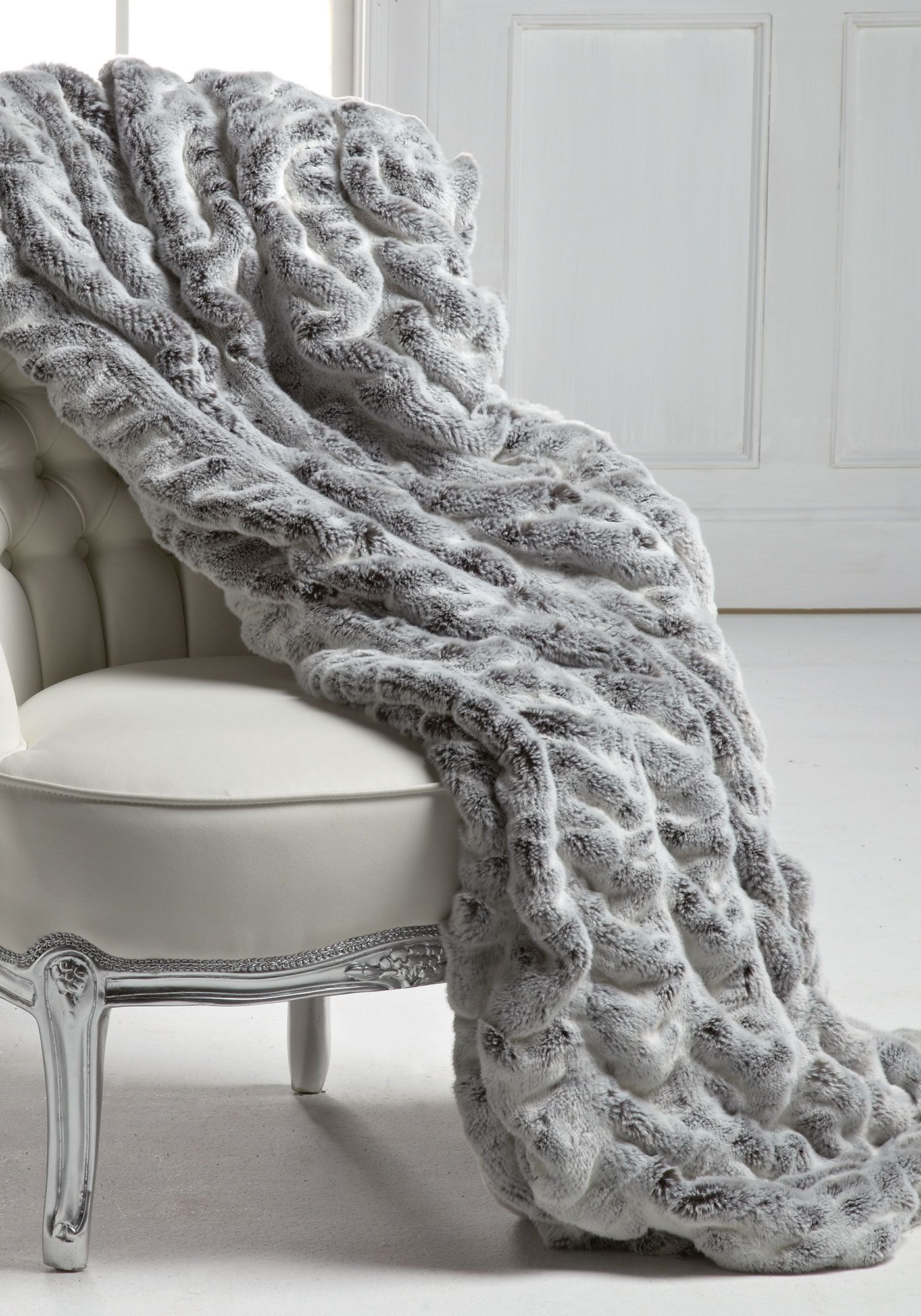Frosted Grey Mink Couture Faux Fur Throw Blankets #faux