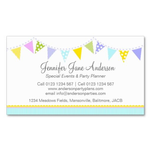 Bunting Party Events Planning Business Cards Party Planner Ideas