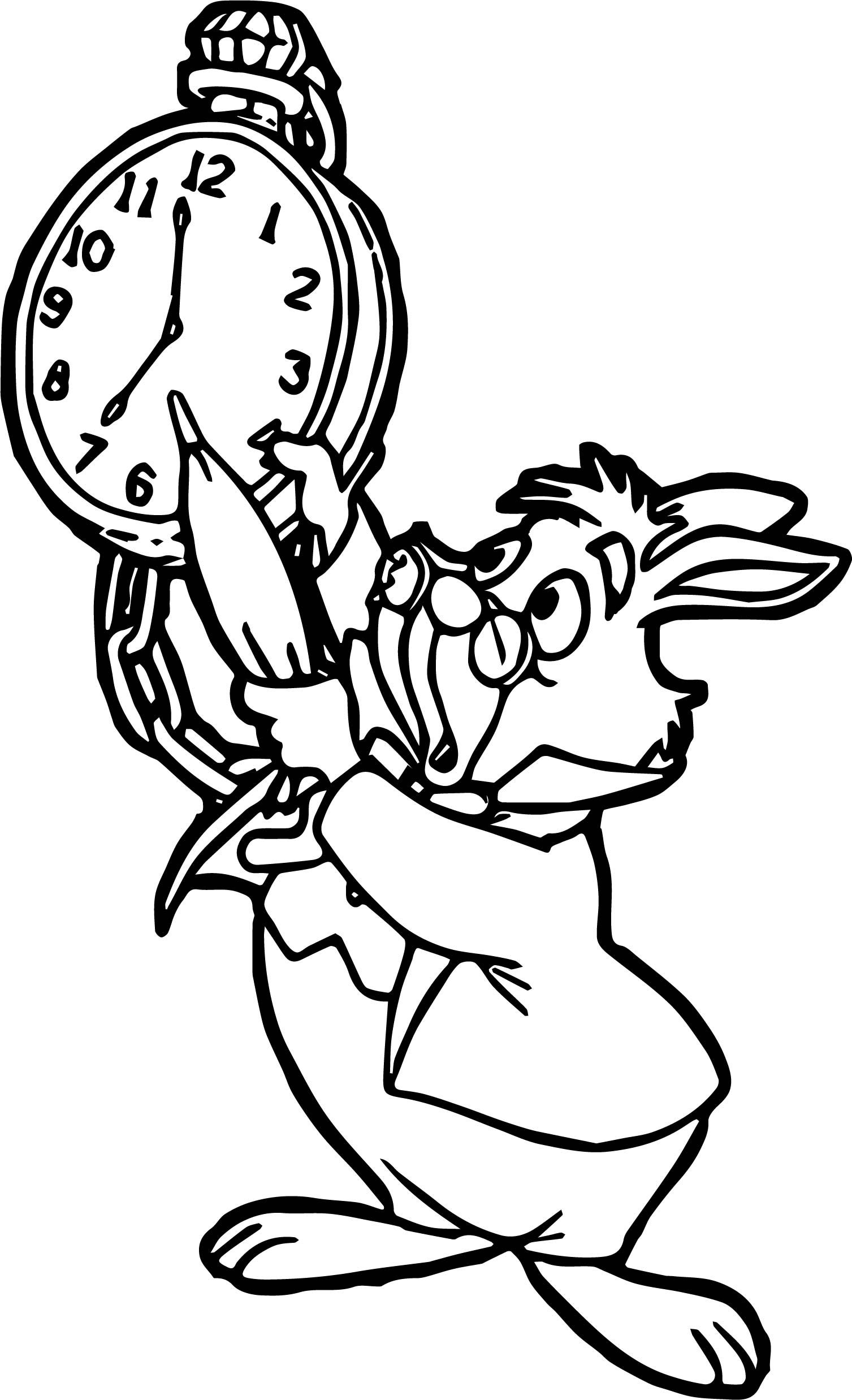 Awesome Alice In The Wonderland Bunny Hour Coloring Page