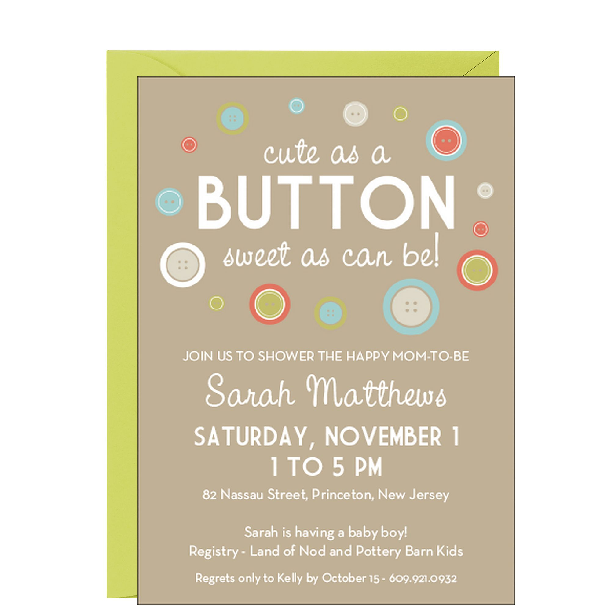 cute as a Button Baby Shower Invitation boy or girl