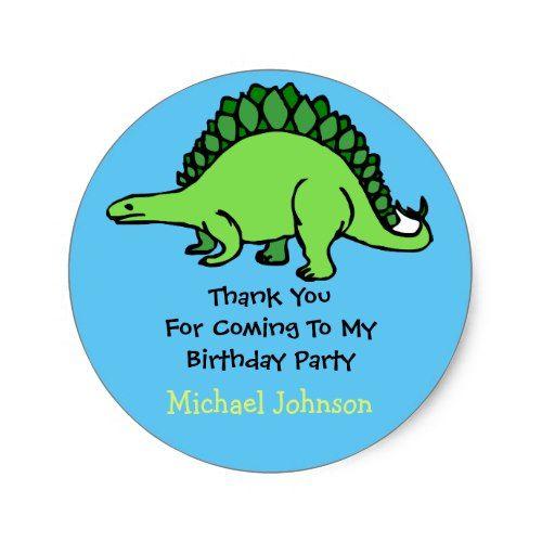 Dinosaur custom boy name birthday thank you favor classic round sticker