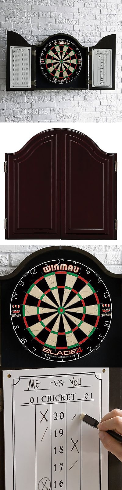 Dart Boards 72576: Blade 4 Bristle Dart Board Winmau Cabinet Set ...