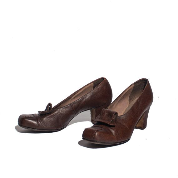 size 7.5  Early 1900's Brown High Heels Square by NashDryGoods