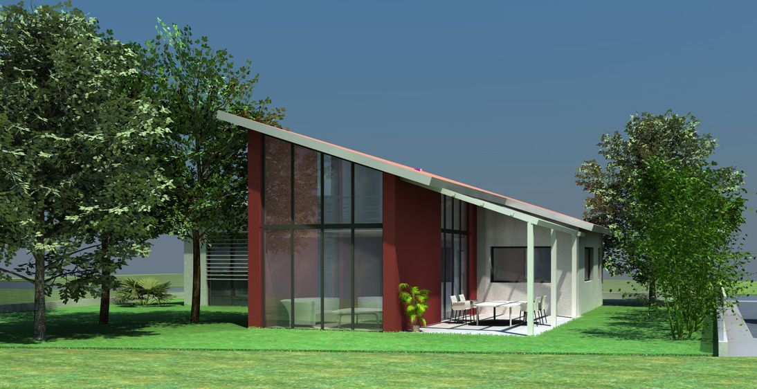 Maison contemporaine à toit monopente en tuiles à Toulouse SLDB