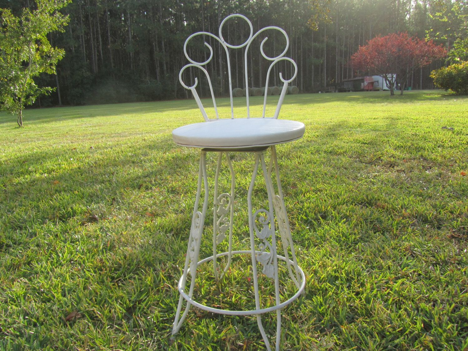 Vintage Wrought Iron Bar Stool, Retro Chair, Chippy Paint, Metal Chair, Tall