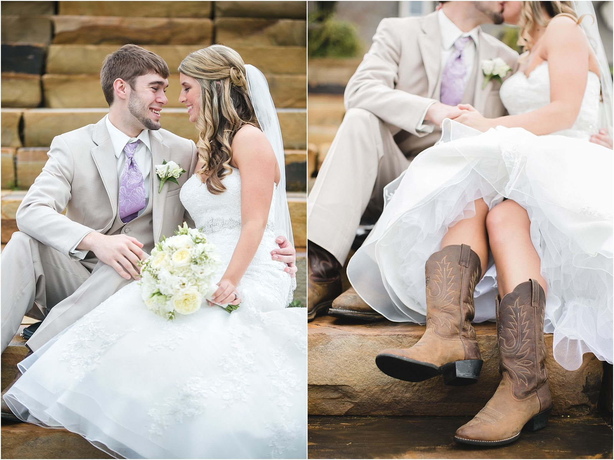 Bride in cowgirl boots, such a cute idea to wear on the wedding day ...