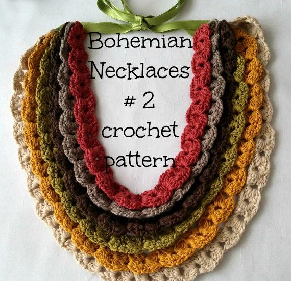 Digital Crochet Pattern Puff Stitch Bohemian Necklace And Bracelet