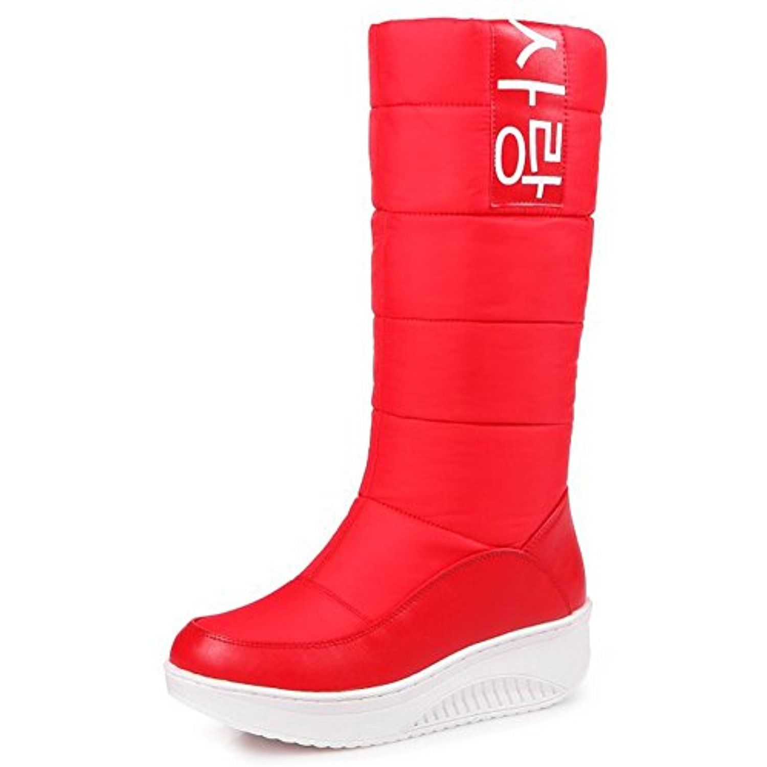 Women's Casual Print Round Toe Warm Fleece Lined Anti Skid Platform Slip on Mid Calf Snow Boots Shoes