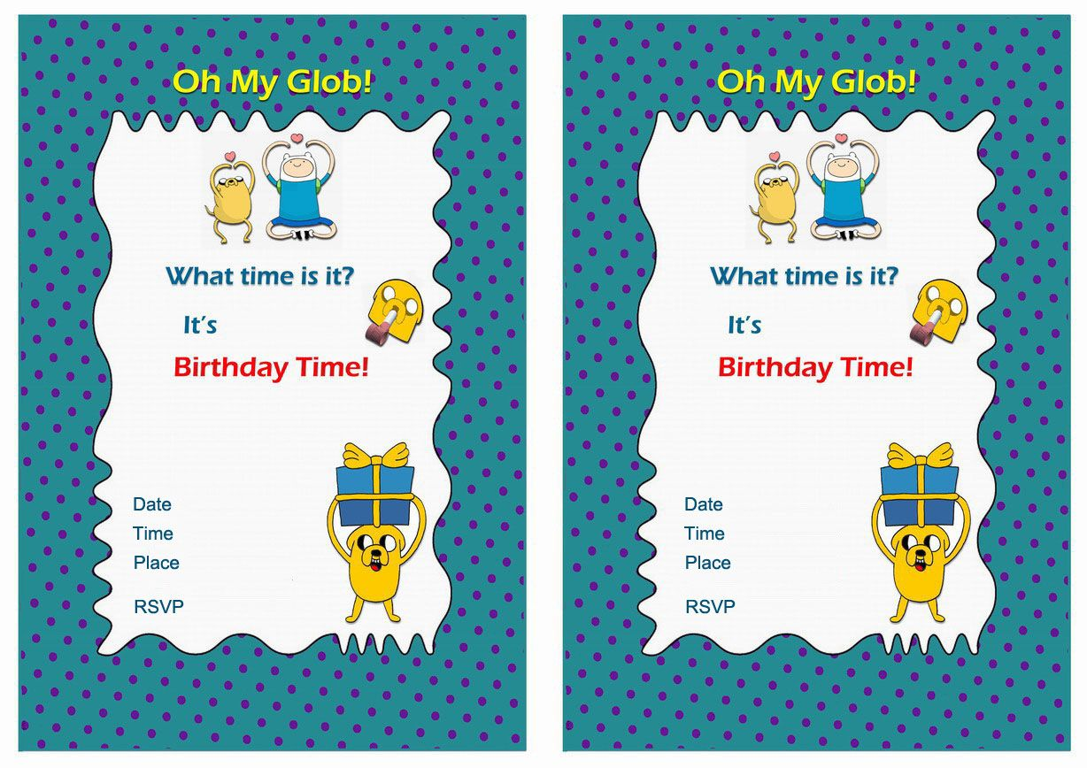 Adventure Time FREE Printable Birthday Party Invitations | Birthday ...