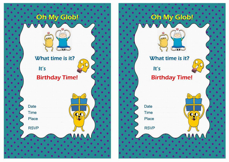 Adventure time free printable birthday party invitations
