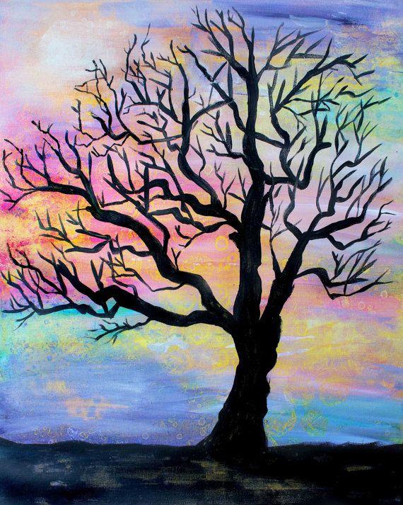 Tree Silhouette Painting : silhouette, painting, Silhouette, Colorful, Painting, Painting,