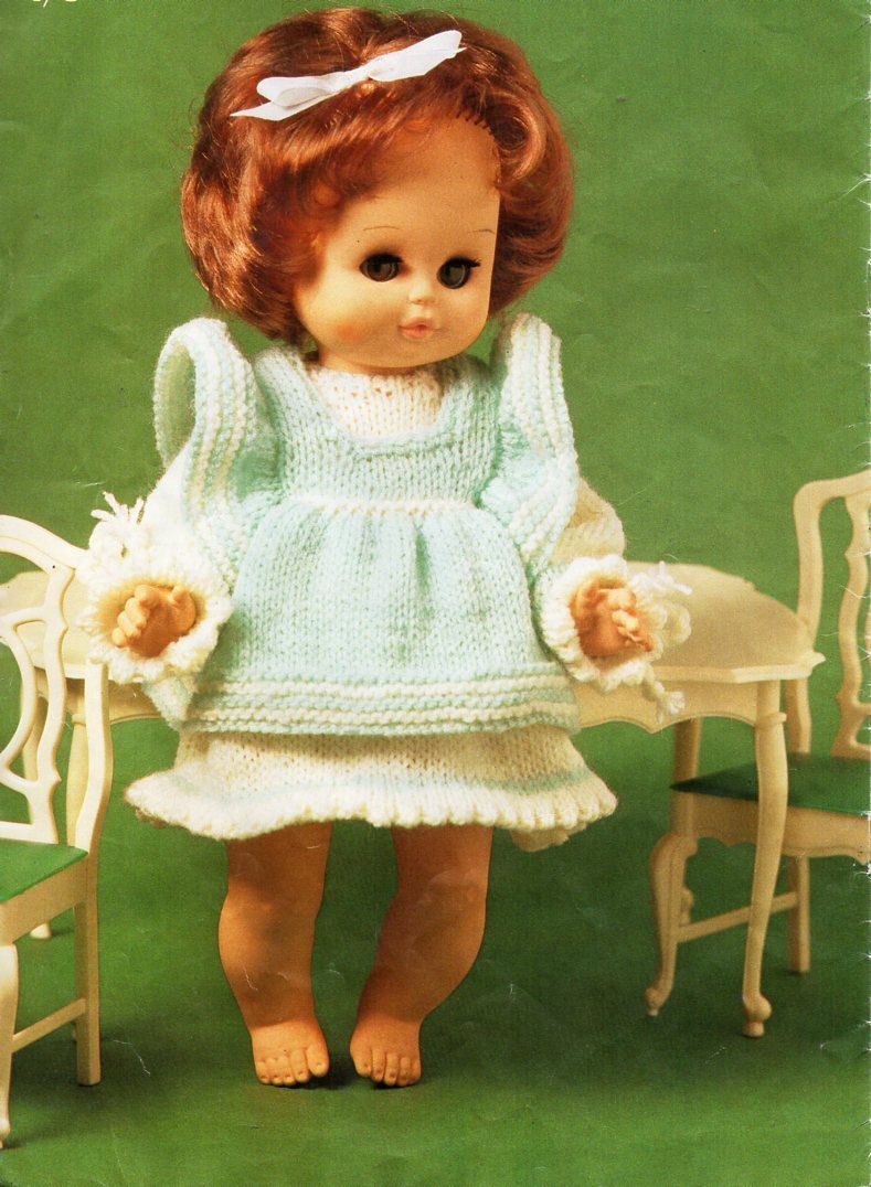 baby doll clothes knitting pattern PDF dolls dress pinafore outfit 9 ...