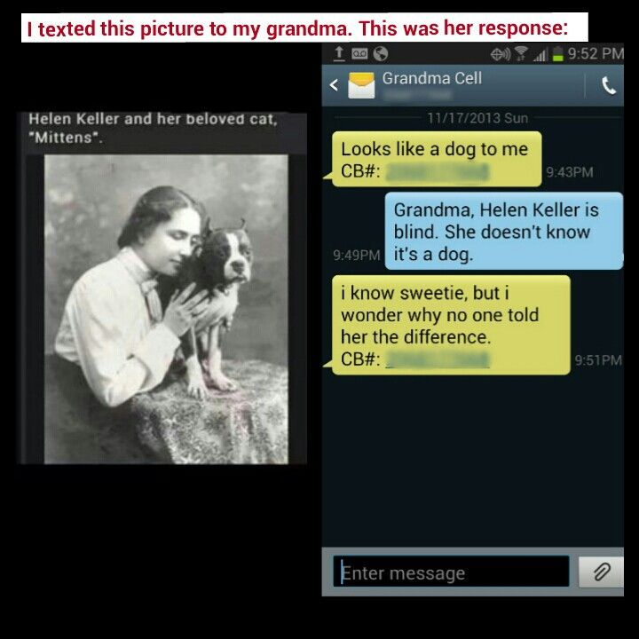 My conversation about this Helen Keller picture with my grandma.